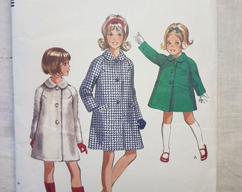 60s vintage Style 2245 Sewing Pattern Girls Coat with Peter Pan Collar Size 12 Bust 30inches