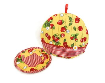 Quilted Tea Cozy and Trivet Set, Summer Tea Cozy Set, Mother's Day Gift, Yellow and Red Tea Cozy and Trivet, Quilted Items