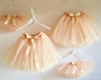 Girls tutu skirt, tutu vintage gold/champagne flower girl tutu skirt, tutu dress, tulle skirt, tea length tutu skirt, flower girl dress