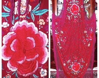 SOLD. Antique Canton Manton de Manila Embroidered Wine Raspberry Silk Huge Heavy Piano Shawl Relief Peonies & Flowers 104x104