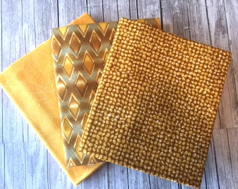 Robert Kaufman – Texture Spectrum Fat Quarter YELLOW & GOLD Stash Builder Bundle / Geometric, Swirl and Woven Blender Fabrics