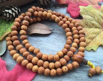 Natural Nepal Yellow Phoneix eye Bodhi Seeds 108 7mm wood Buddha Prayer Beads Bracelet Meditation Japa Mala Necklace Buddhism