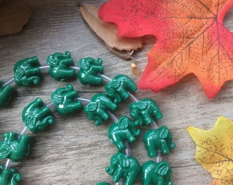 """1 Strand  Green 15"""" Plastic Elephant Spacer Charms Loose Beads DIY Supplier For Handcarfts Bracelets"""
