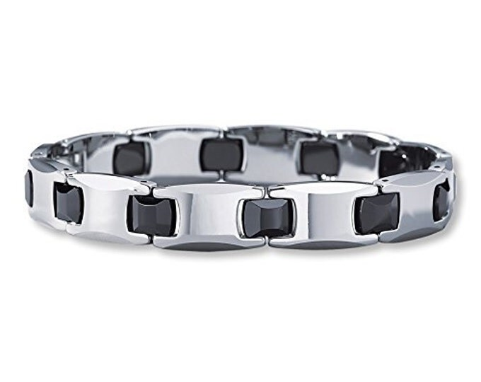 9 inch Men Unisex  Black Ceramic & Tungsten Carbide Bracelet- Ideal Gift For Dad  Him- Father Day- Birthday or Just For You