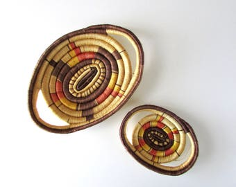 vintage woven baskets / 1970s trays