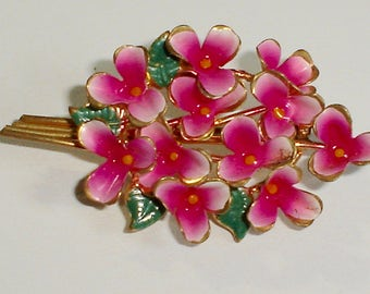 Vintage Austria Enameled 3-D Flower Brooch/Pin,  Vibrant Pink, White & Green on Gold Tone