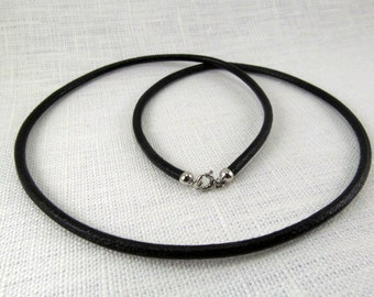 Natural Black Leather with 925 Sterling silver clasp Leather necklace