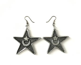 Vintage Large Crescent Moon Star Symbol Star Dangle Earrings