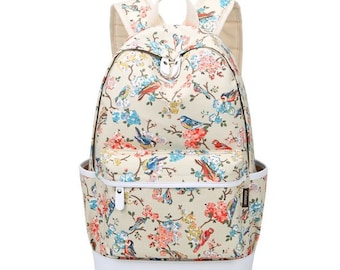 Floral Bird Print Chic Backpack in Teal and Coral