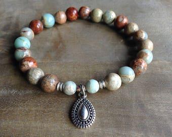 Impression jasper bohemian bracelet boho chic bracelet gemstone bracelet hippie bracelet womens jewelry boho chic jewelry gypsy jewelry