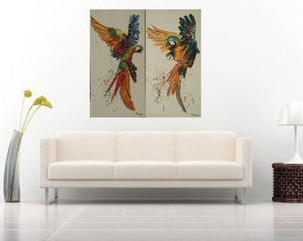 Parrot painting, oil painting of Macaw,Parrot painting by Kampon