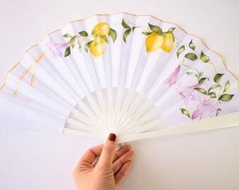 Wedding handfan / Bridan fan / Handpainted fan / wodden handfan / cotton fan