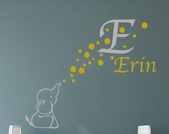 Elephant Monogram Removable decal/Bubbles/Elephant/wall decal/monogram/custom/