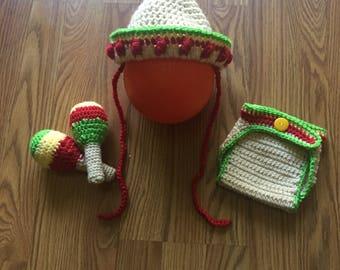Newborn Sombrero Set~ Crochet Sombrero hat and diaper cover~Sombrero hat and maracas~Cinco de Mayo photo prop set