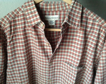 Vintage Men's Banana Republic Shirt/Large Button Down Cotton/Preppy Oxford/Rusty Red/Casual Shirt/Checkered Shirt/Men's Large/100% Cotton