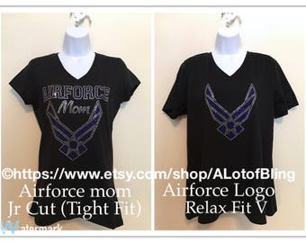 Airforce/Airforce Mom Rhinestone T-Shirt