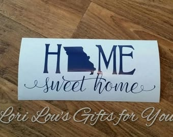 Home State decal, State Decal State Home Sweet Home Decal All 50 States, home with state