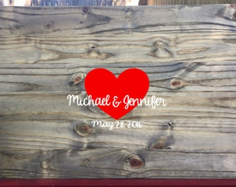 Rustic Wedding Guest Book, Rustic Guest Book Alternative, Rustic Wedding Heart Guestbook, Rustic Wedding Decor, Wooden Guest Book Sign In