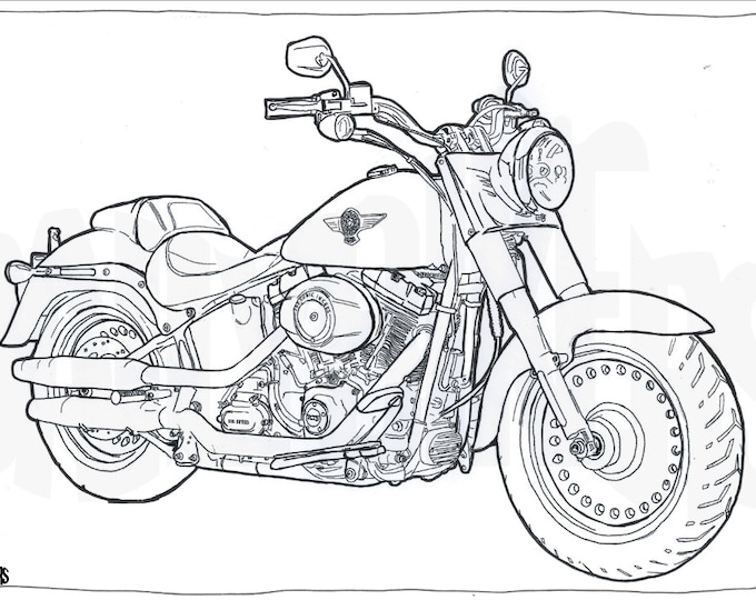 Harley Davidson Fat Boy Colouring Page - Motorcycle Illustration - Motorcycle Coloring