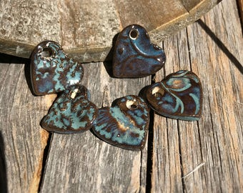 5 Heart Pendants | Ceramic Jewelry | Stoneware jewelry supply | Rustic heart Pendants | Mini Heart Charms | DIY Earring & Necklace Supply