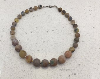Necklace, Sand Stone, Matte Yellow Agate