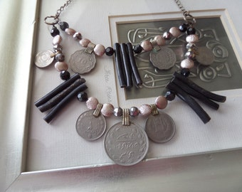 Tribal Dance Black and Silver Kuchi Coin Necklace with Bamboo Beads