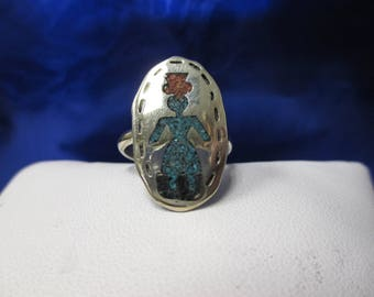 Sterling Silver Turquoise Woman with Hat Silhouette Ring