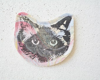 Multi-colour Cat Face Pin Brooch. Birman Ragdoll. Fabric. Upcycled textiles.