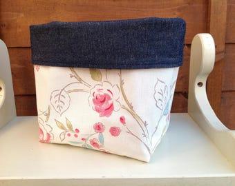 Fabric basket, flowers fabric baskets, fabric storage, handmade, storage solution, organiser