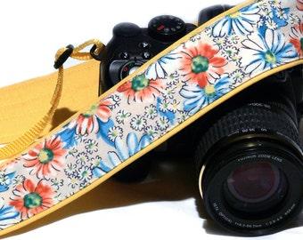 Flowers Camera Strap. DSLR Camera Strap. Canon Nikon Camera Strap. Yellow camera strap. Camera Accessories
