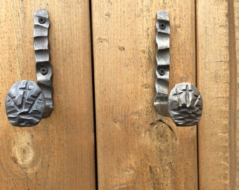 Hand Forged railroad spike coat hangers  with 3 crosses