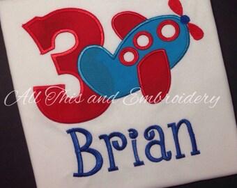 Airplane Birthday Shirt,  Airplane Themed Birthday, Birthday Shirt,  Boy Birthday Shirt, First Birthday Shirt,  Monogrammed Birthday Shirt