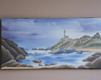 """10x20 Inch Painting """"By The Sea"""" // Oil Painting // Canvas Painting // Seascape // Landscape Paintings // Beach // Ocean // Lighthouses"""