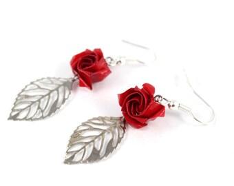 Earrings - red roses - Origami leaf watermark - Japanese paper
