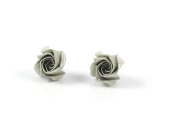 Chips grey Roses - Origami Japanese paper - earrings