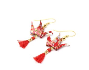 Earrings red and gold Origami Cranes in papierjaponais
