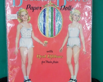 Original Vintage 1953 BONNIE BOWS Paper Dolls Uncut/ Real Ribbons for their hair