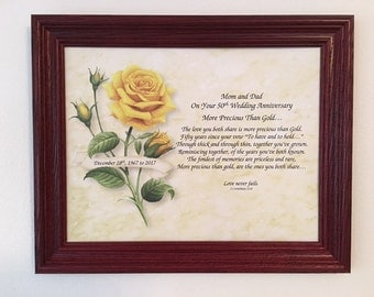 50th Anniversary Gift, 50 Year Anniversary Gift, 50th Poem, Frame Included, For Mom and Dad, For Grandparents, Golden Wedding Anniversary