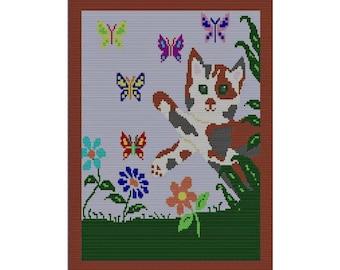 PDF Kitty Butterfly Afghan Pattern, Tunisian Crochet Color Graph Design, Calico Kitty, Ornery Kitty, Crochet, Single Crochet, C2C chart