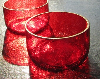Red Upcycled Bowls Straight Sided (pair)