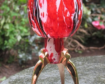 Red and Black Marbled Glass and Metal Candlestick
