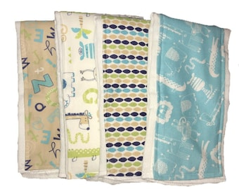 Alphabet Animals Burp Rag Trio, burp cloth , cloth diaper burp rag