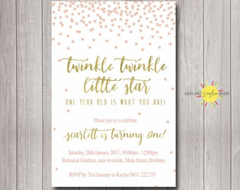 Custom Printable Girl Birthday Invitation 1st Birthday Any Age Twinkle Twinkle Little Star Pink and Gold