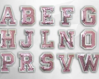 Pink Alphabet Letter  Iron on Patch(Large) - Pink Sequin Letter, Glitter Applique Embroidered Iron on Patch - Size 4.5-9.8x7.5 cm