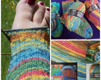 """Art yarn 4ply Hundertwasser artyarn for socks and jumpers 100g 425m dyed after painting """"Kiss in the rain"""" blue grassgreen red brown yellow"""