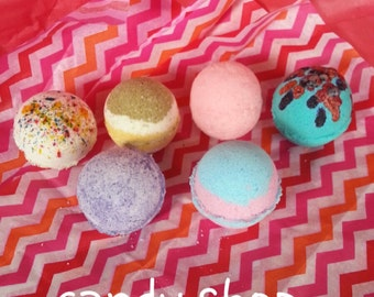 6 pack. Bath bombs.  CANDY SHOP COLLECTION.