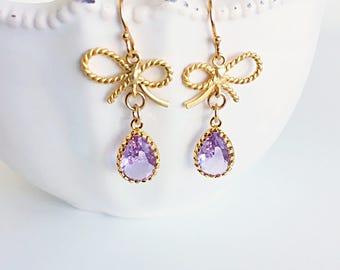 Ribbon Earrings, Gold Bow and Pink Glass Teardrop Dangle Earrings, Dainty Pink Drop Earrings