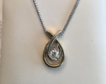 """Vintage 10k two tone open pear pendant with one round brilliant cut diamond .25 ct K-I1 in the middle on a 14k white gold 16"""" wheat chain"""