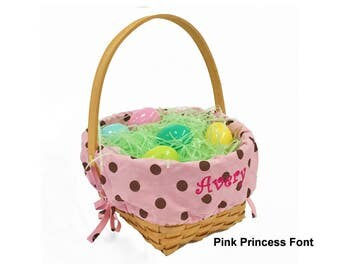 Personalized Woodchip Easter Basket - Pink with Chocolate Polka Dots, Large