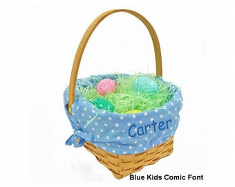 Personalized Woodchip Easter Basket - Blue with White Polka Dots, Large